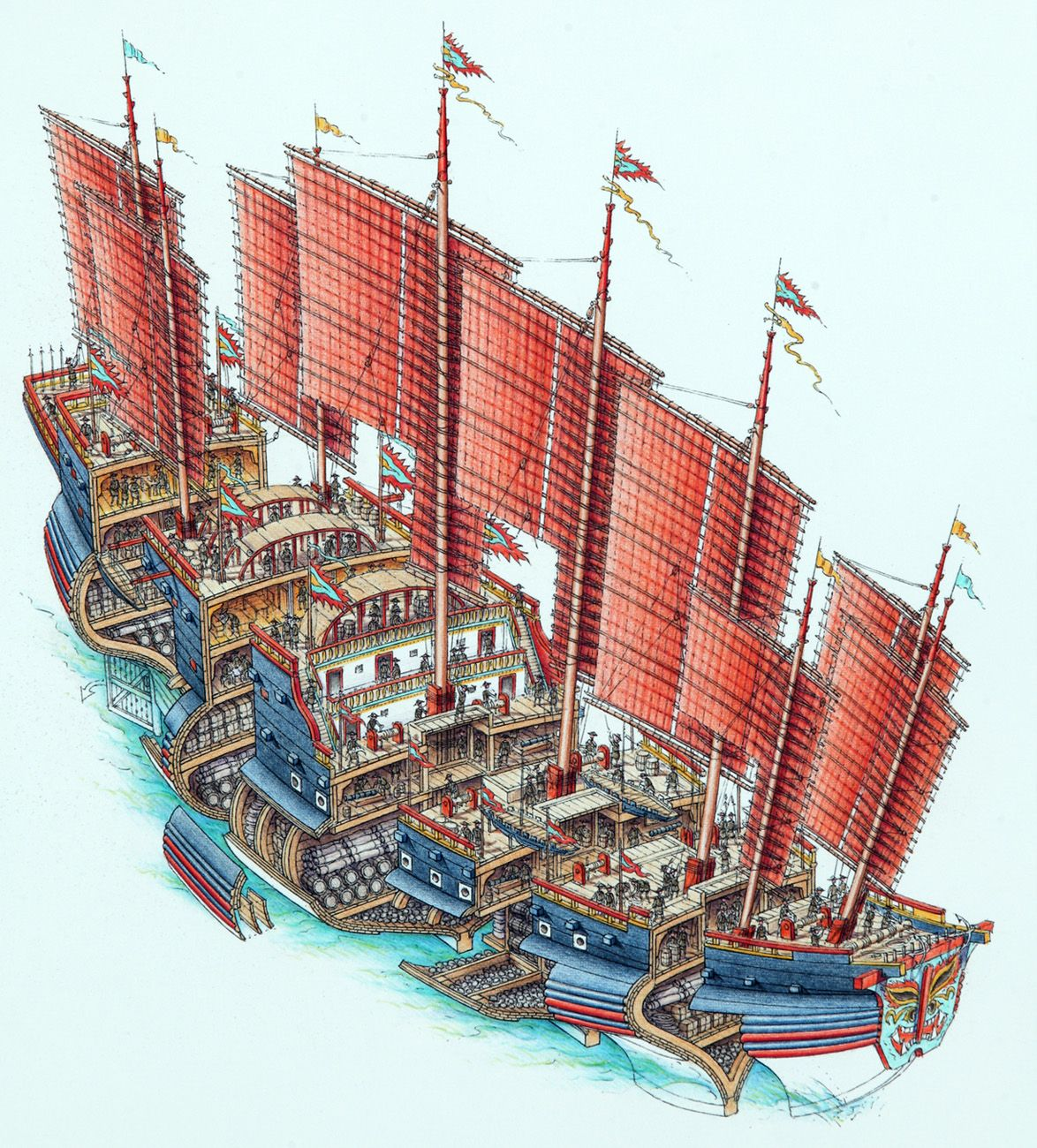 Stephen Biesty - Illustrator - Atmospheric Cutaways - Chinese Treasure Ship | The Plans for the ...