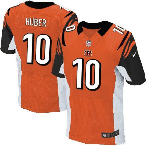nike elite kevin huber orange mens jersey cincinnati bengals 10 nfl alternate