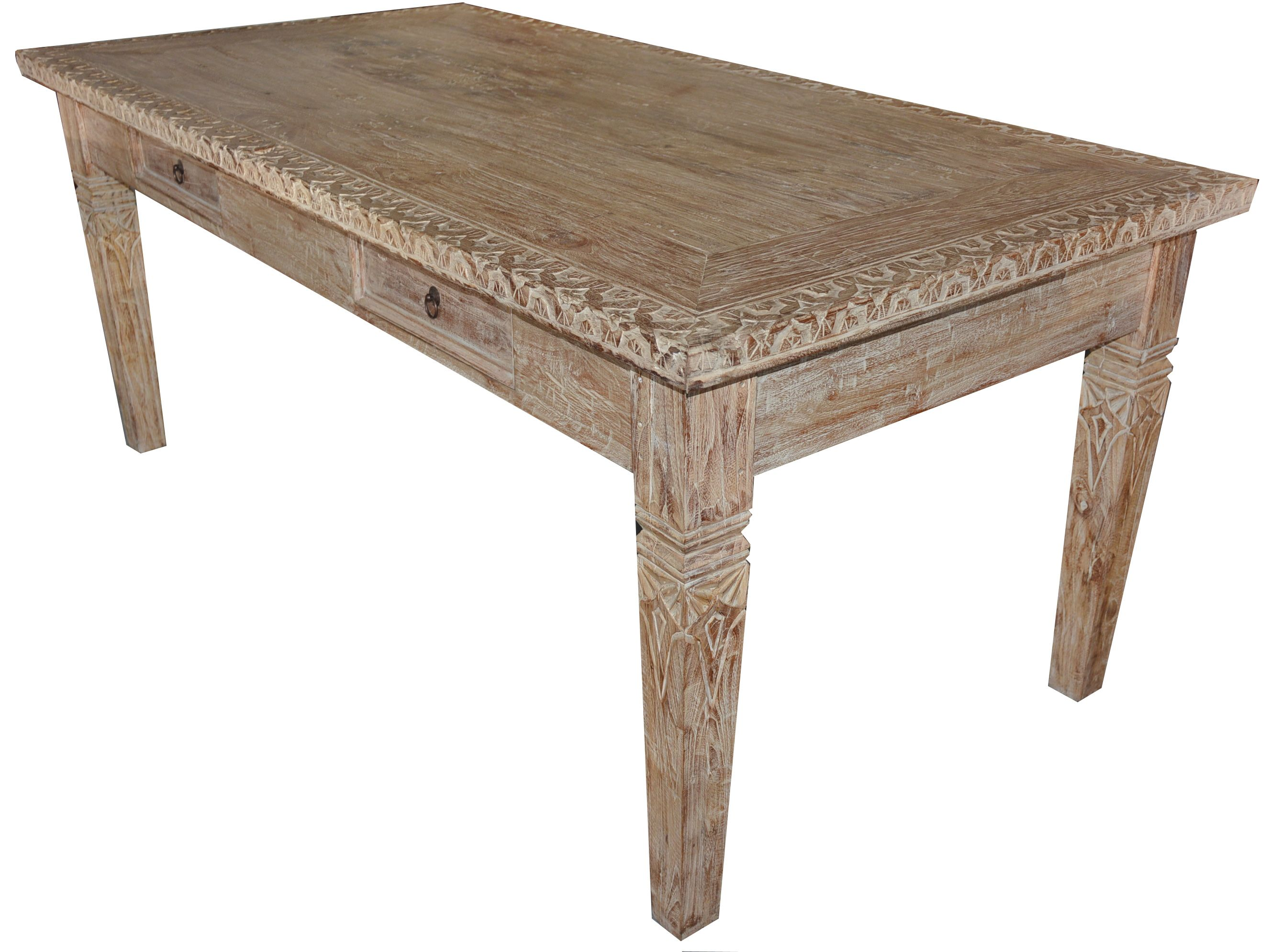 Hand carved teak wood dining table w/ white washed finish