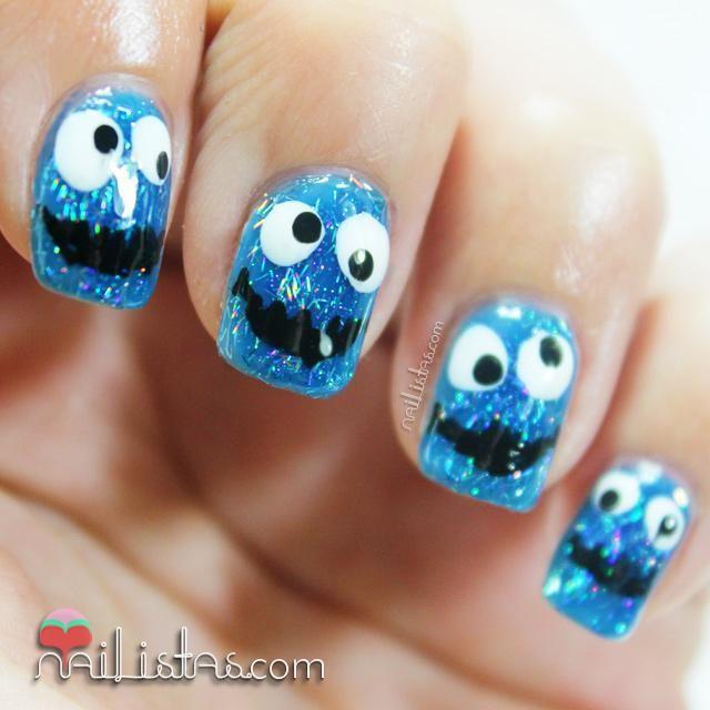 Uñas decoradas con el Monstruo de las Galletas | Colorful nails and ...