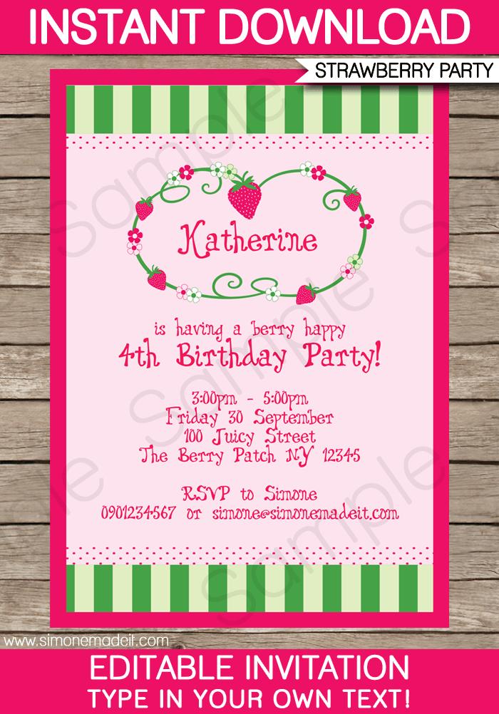 Strawberry Shortcake Party Invitations Template | Strawberry ...