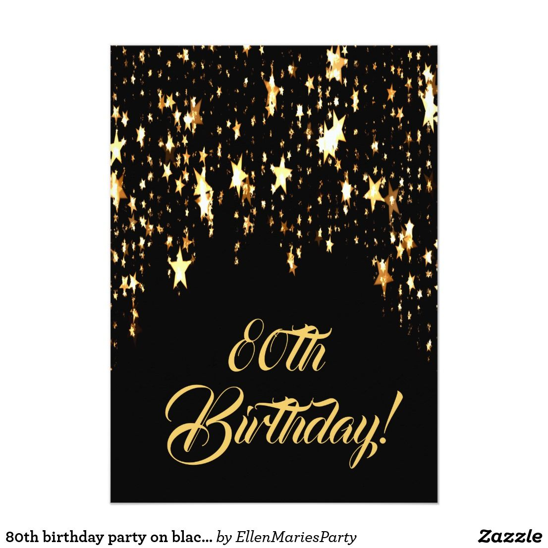 80th Birthday Party On Black With Shining Stars Invitation Elegant Classic Glamorous And Feminine Style A Background