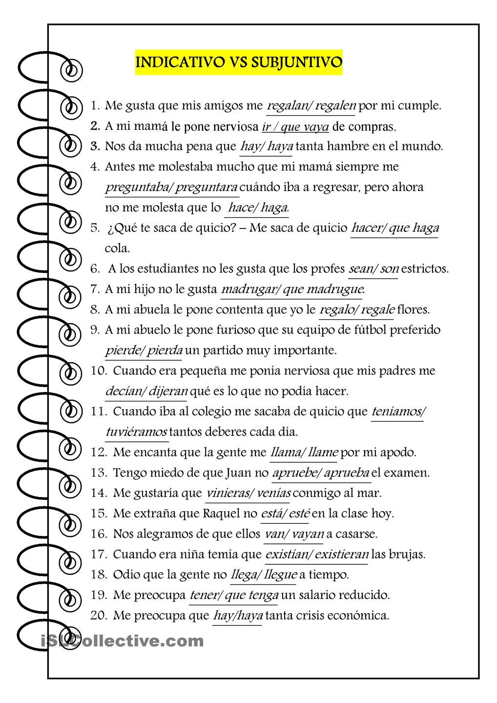 Indicativo vs subjuntivo spanish instruction materials for En y frances ejercicios