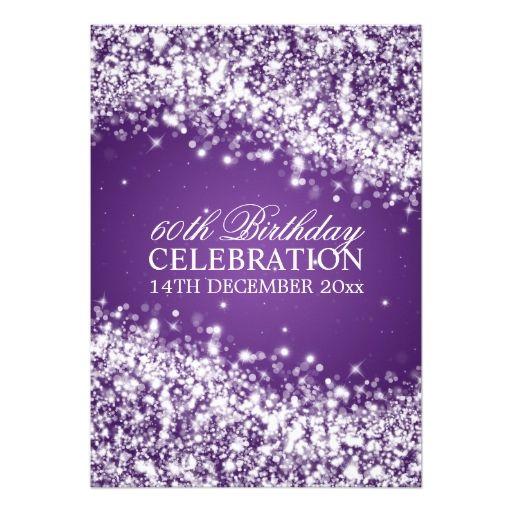 Elegant 60th birthday party sparkling wave purple card 60th 50th birthday invitations filmwisefo