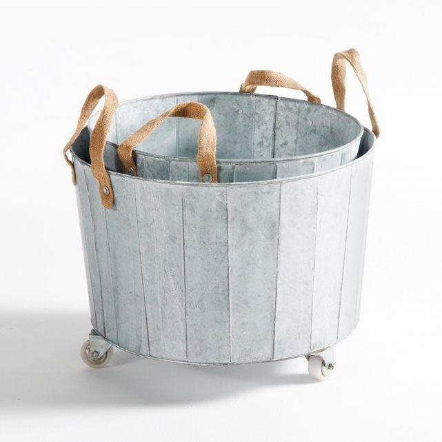 Cache-pot zinc à roulettes (lot de 2) Aissa