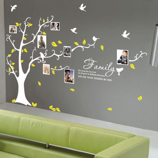 tree wall decals with birds and yellow leaves living room