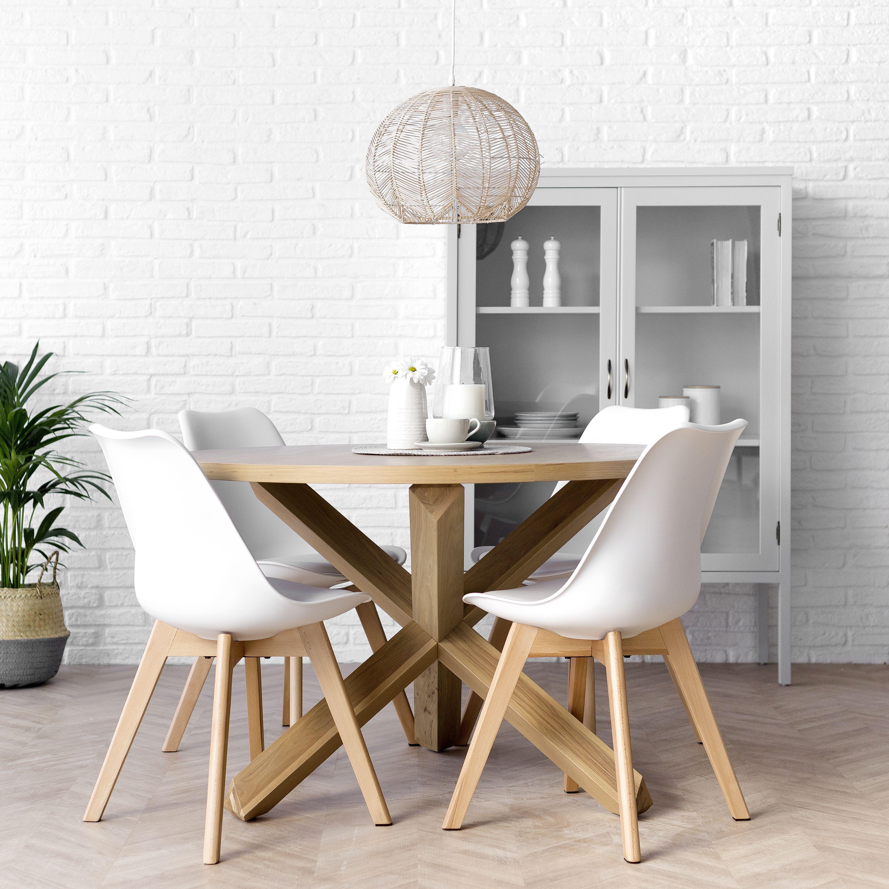 Cross mesa redonda roble | Mesa y sillas cocina, Mesas y ...