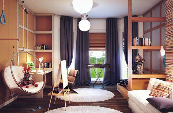 Les rideaux occultants les plus belles variantes en photos les salon moderne tapis rond et for Rideau salon marron