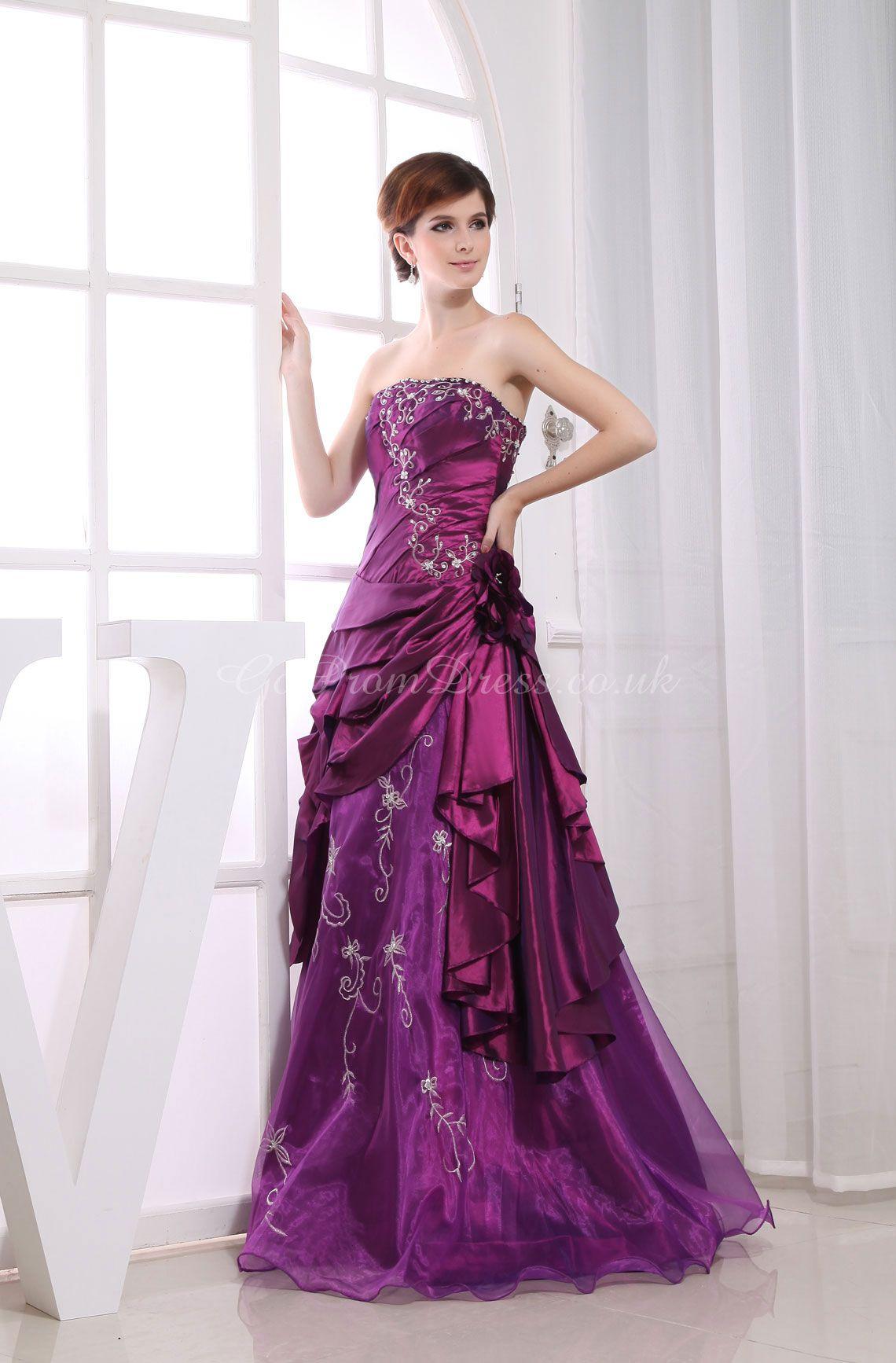 A-line Taffeta Strapless Natural Waist Floor-Length Lace-up ...
