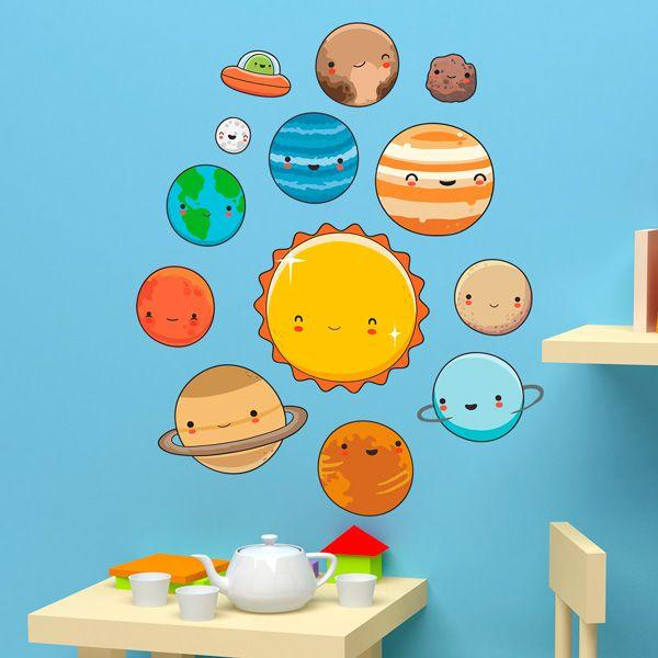 Vinilos Decorativos Planetas.Vinilos Infantiles Kit Planetas Del Espacio Vinilo