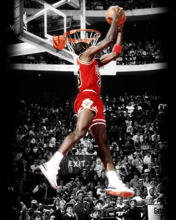 the latest 0ce0d 9e51d This incredible photo art piece captures Michael Jordan as he elevates for  a reverse jam in the 1988 Slam Dunk Contest which was held in front of his  home ...