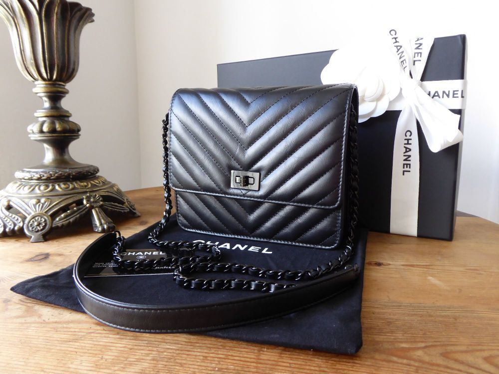 4284856b603aff Chanel Square Wallet on Chain Reissue 2.55 'So Black' Chevron Quilted  Calfskin >
