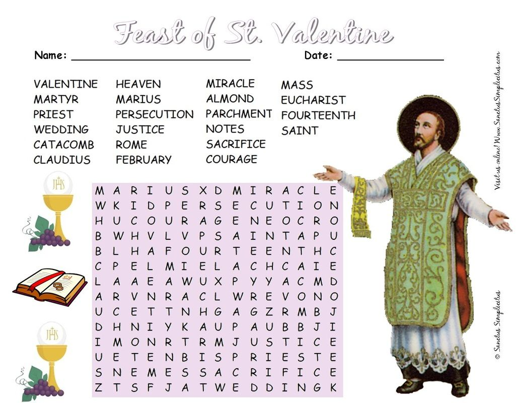 St Valentine Word Search Free Download
