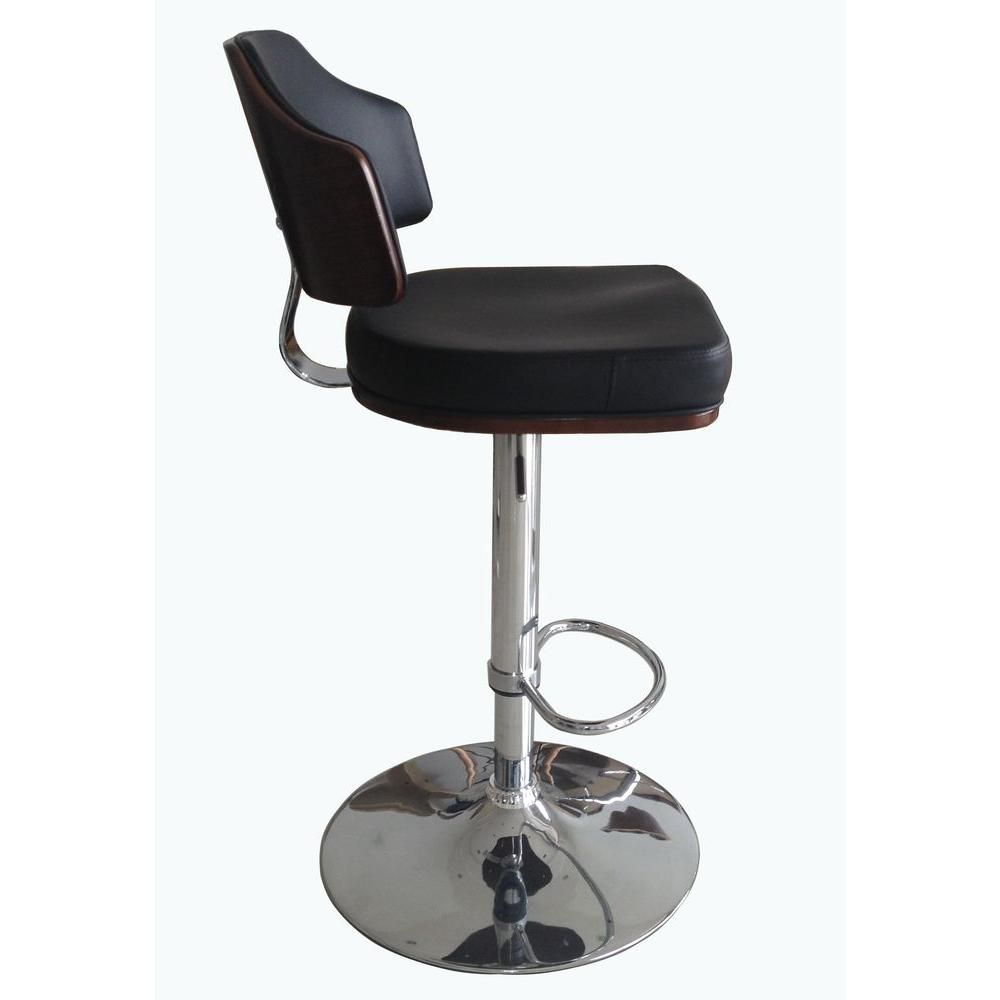 Classic Laminated Wood Bar Stool In Walnut And Black New