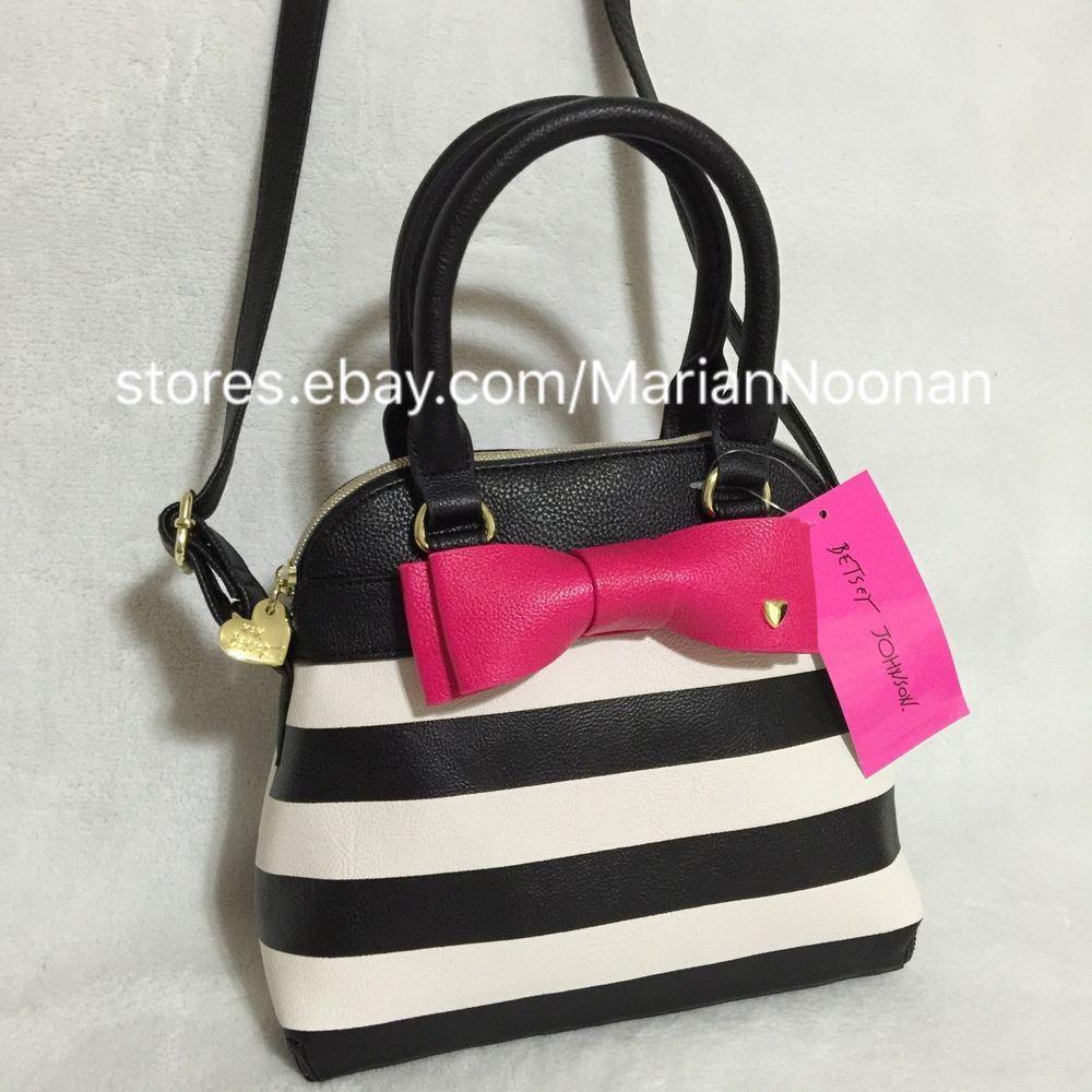 284576ffd4bf New Betsey Johnson Mini Dome Satchel Purse Black White Stripe Pink ...