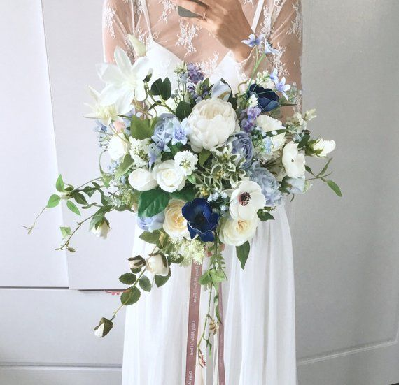 Photo of Artificial bouquet Wedding Bouquet blue roses High quality flower home decoration