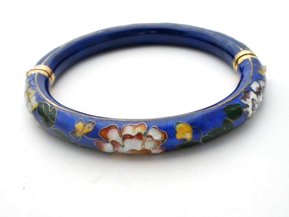 Solid Silver Bangle With Cloisonne Enamel Decoration