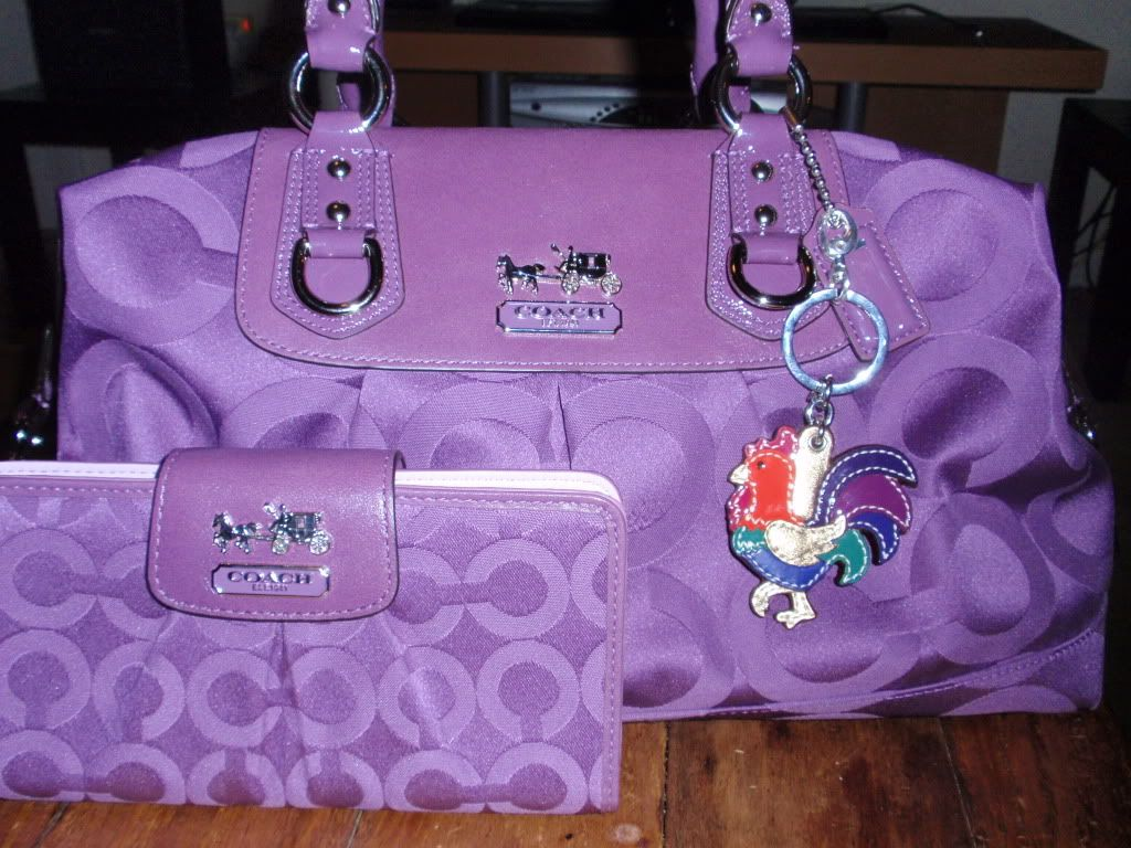 Purple Coach Purse with Wallet. loveeeeeeeeee the wallet - That colorful  rooster adds just the