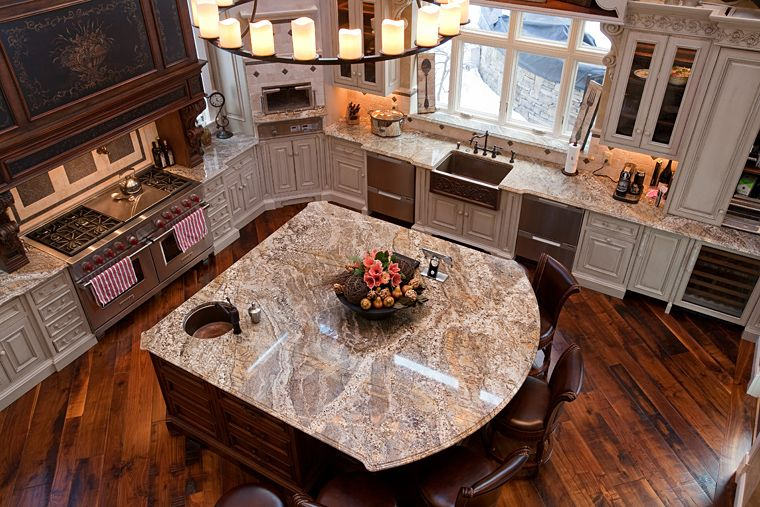 Giallo Capela Granite With Cove Dupont Edge   Mediterranean   Kitchen    Boston   Select Stone