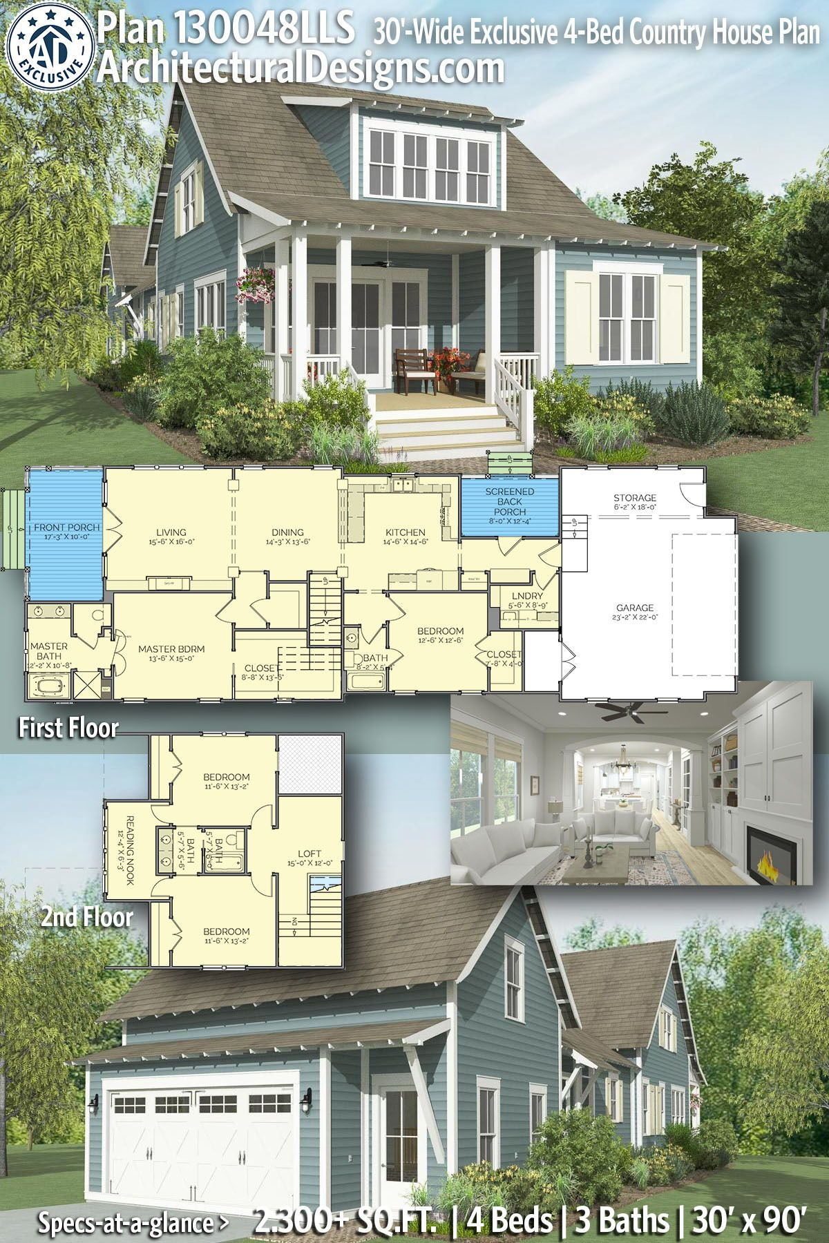 Plan 130048lls 30 Wide Exclusive 4 Bed Country House Plan In 2020 Vacation House Plans Country House Plan Coastal House Plans