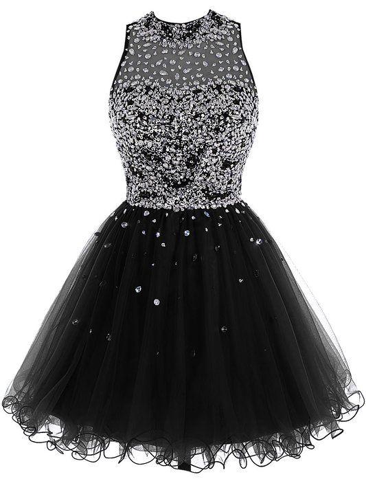 Bbonlinedress Short Tulle Beading Homecoming Dress Prom Gown Black 2 ... 2b966d186