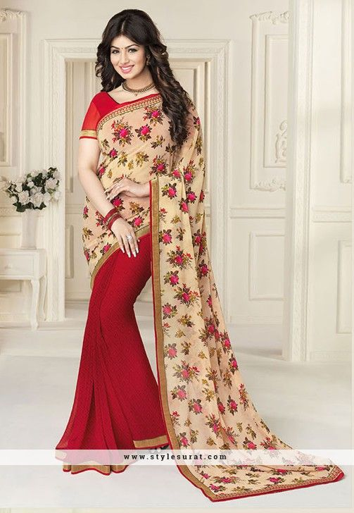 Georgette Fabric Radiant Red And Beige Color Printed Saree