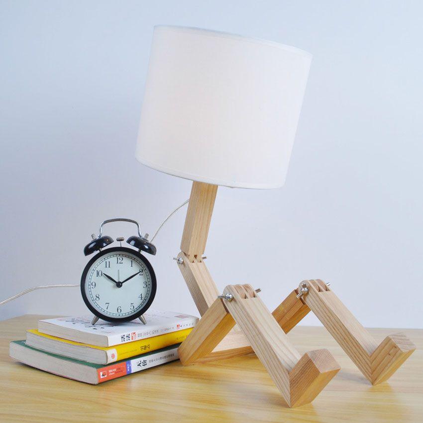 Nordic moderne hout robot vouwen creatieve bureaulamp kids