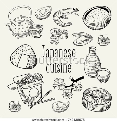 japanese food hand drawn background japan traditional cuisine