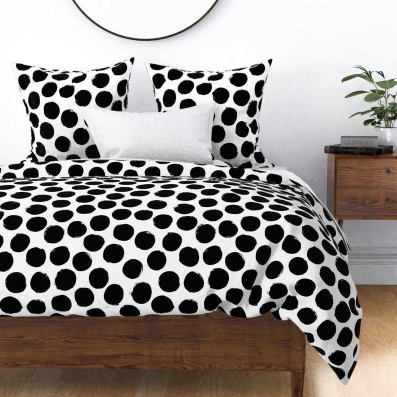 Polka Dots Duvet Cover Black White Huge Polka Dot By Etsy Black Duvet Cover Polka Dot Duvet Black And White Bedspreads