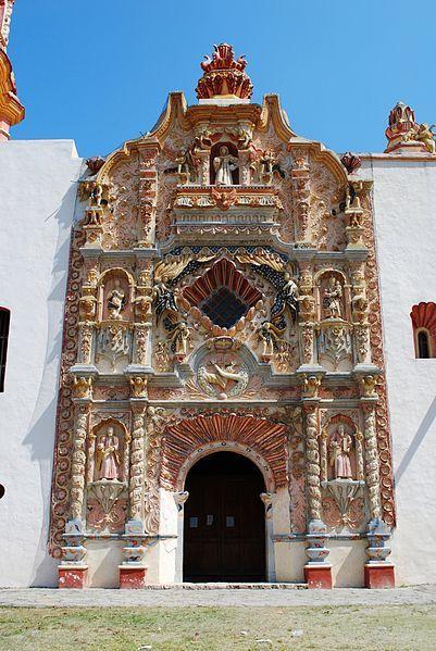 Main portal of the mission in Tilaco, Landa de Matamoros, Querétaro, Mexico.
