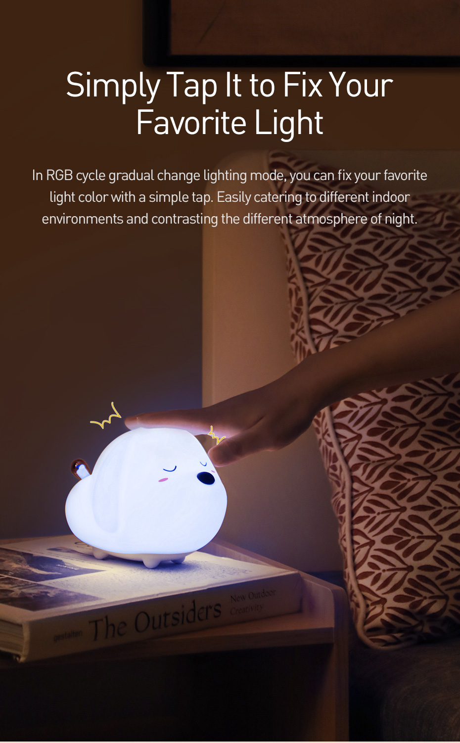 Baseus Cute Led Night Light Soft Silicone Touch Sensor Night Light For Children Kids Bedroom Rechargeable Tap C In 2020 Sensor Night Lights Led Night Light Night Lamps