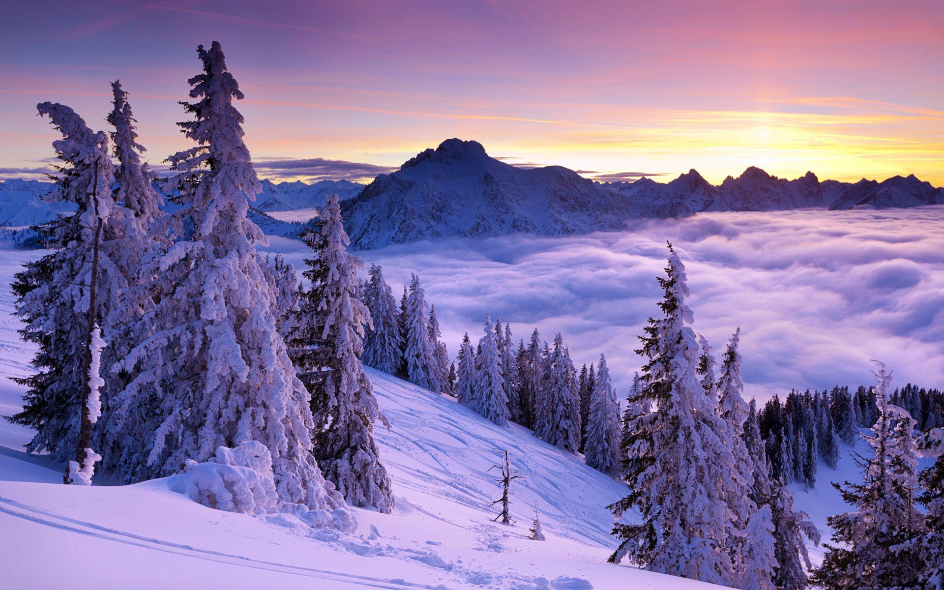 Sun Sets Over The Mountain Winter Landscape Winter Wallpaper Winter Screensavers