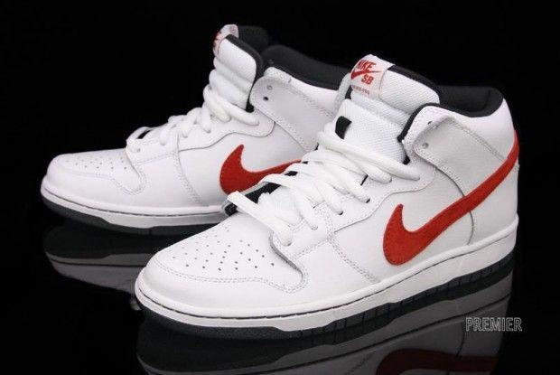 Nike SB Dunk Mid Pro White Red | KicksOnFire nice gotta get my shoe