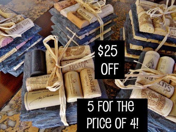 25 Dollars Off SaleSlate Wine Cork Coasters by ScatteredTreasures, $100.00