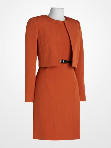 Signature By Larry Levine Burnt Orange Dress Suit Spice Pumpkin