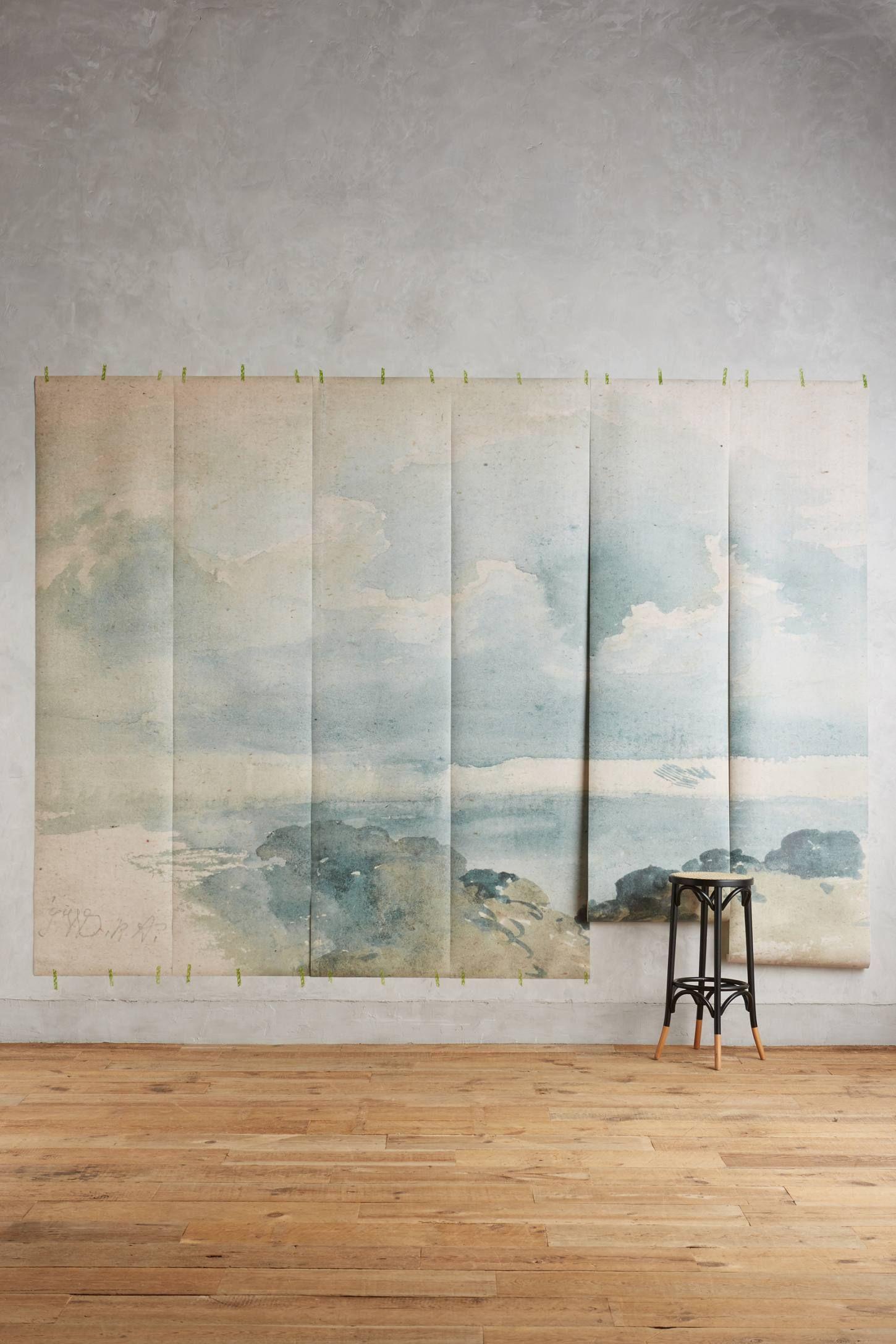 coastal cirrus mural | ispirazione, carta da parati per la stanza ... - Carta Da Parati Design Sala Da Pranzo Ispirazione Vetro Freddo