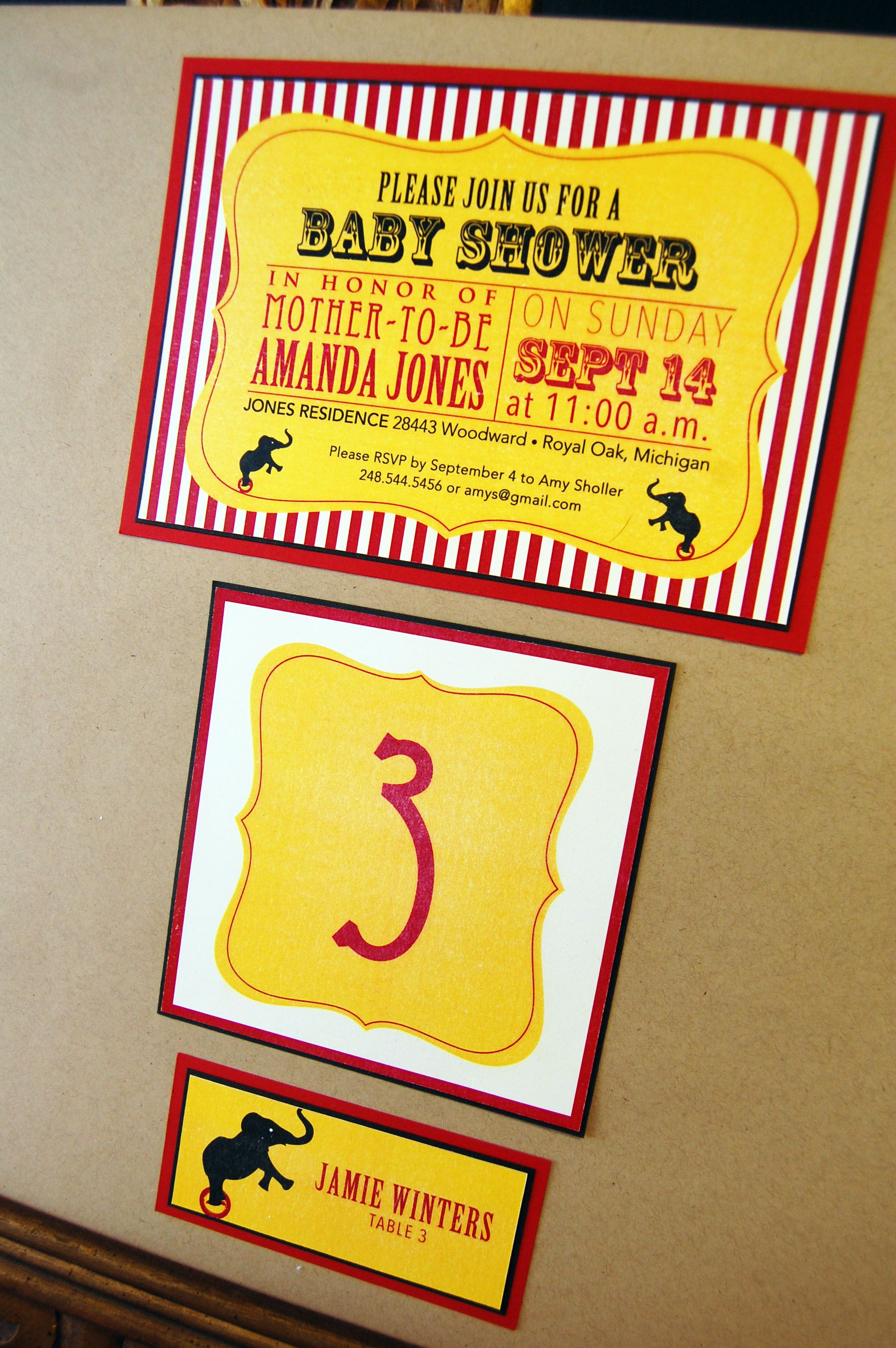 Circus theme baby shower invitations by Lisa\'s Gift Wrappers ...