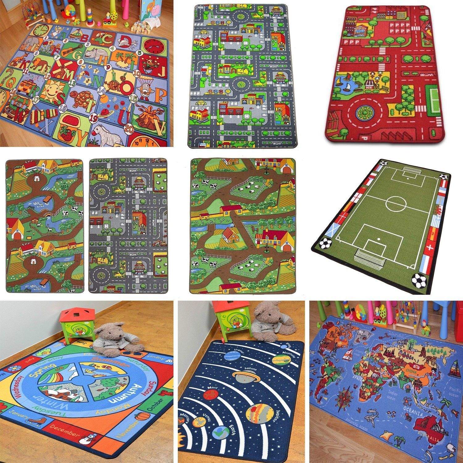 785 Gbp  Kids Play Mats Roads Farm Letters Children