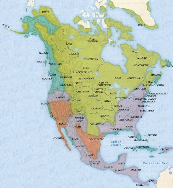 A map of North America with the names of indigenous peoples over the Indigenous Peoples Of The Americas Map on atlantic world map, korea map, caucasian race map, choctaw map, honduras map, united states map, el salvador map, first nations map, bolivia map, aryan race map, england map,