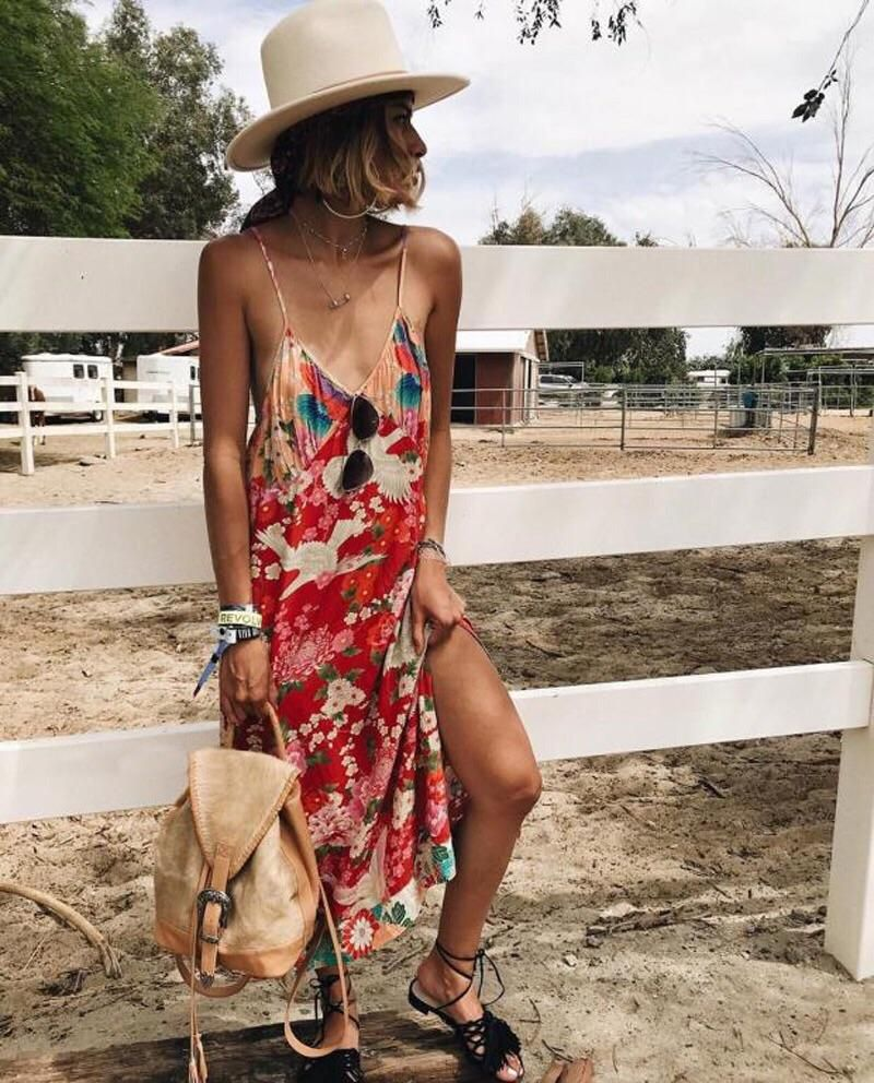 Floral Camo Strappy Maxi Dress In 2020 Hipster Dress Strappy