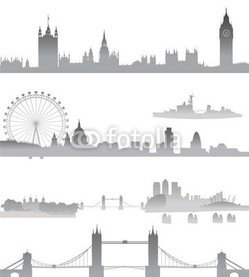 Very Detailed London Skyline With Big Ben Westminster Eye Tower Bridge