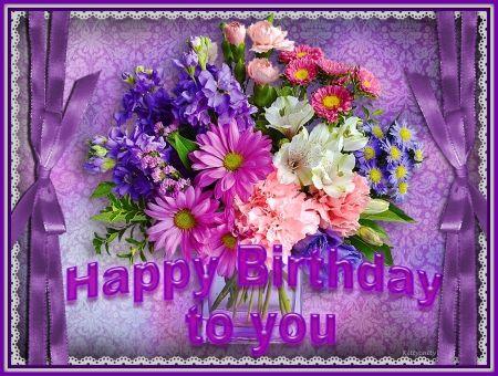 Happy Birthday Flowers And Balloons ~ Happy birthday purple flowers happy flowers abstract