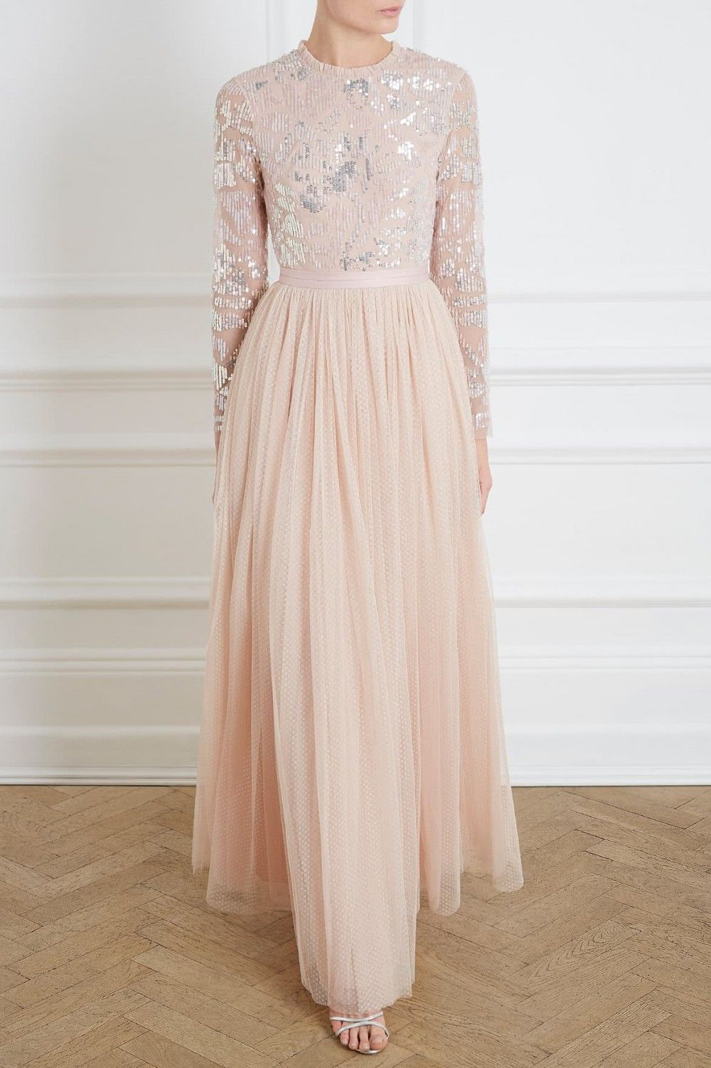 8559a0897900b Floral Gloss Bodice Maxi Dress in Rose Quartz from the Needle & Thread PS19  Collection