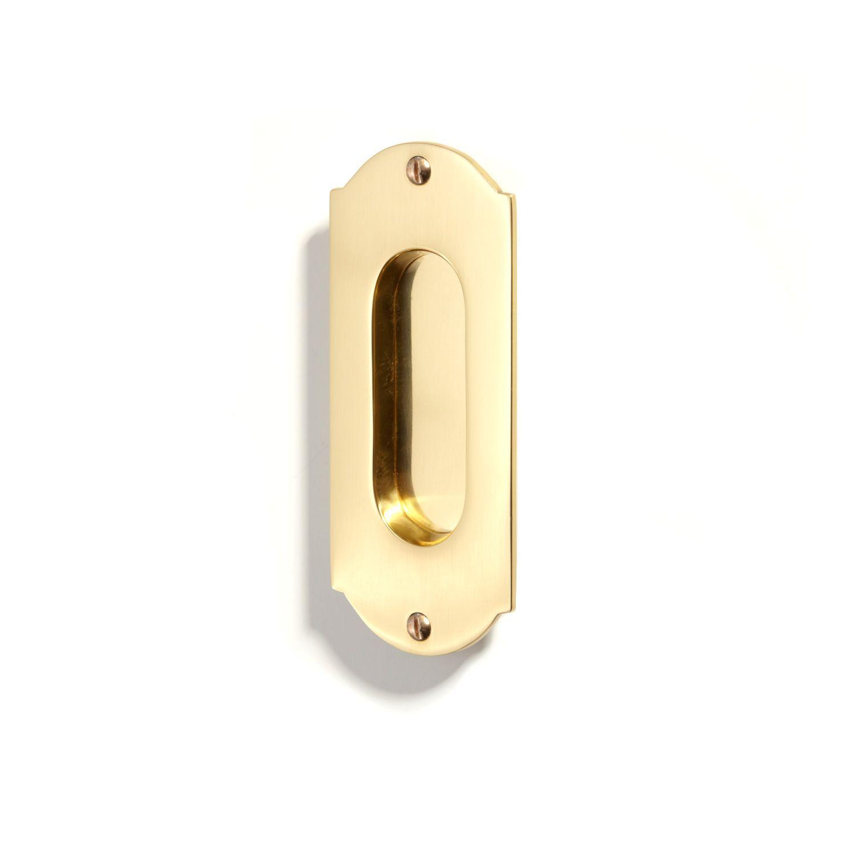 Old World Pocket Door Pull In 2 X 9 In Brushed Nickel Brass Signature Hardware Pocket Door Pulls Pocket Doors Pocket Door Hardware