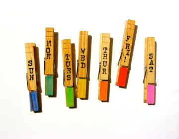 Days of the Week Clothespin Magnets by CarnivalCraftCompany, $6.00