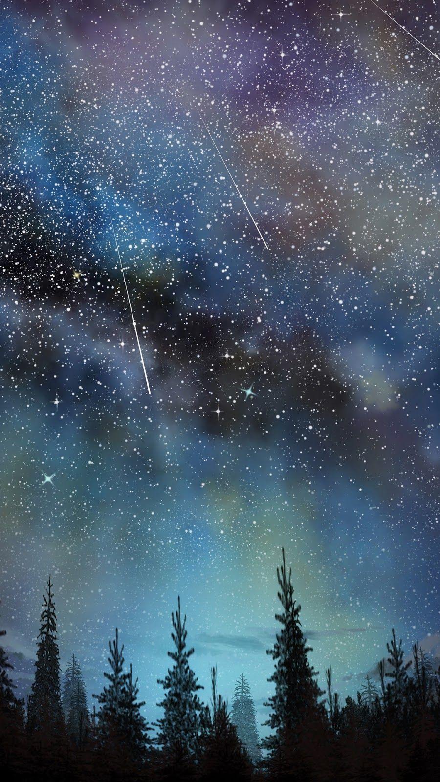 Shooting Star Wallpaper Myfavwallpaper Lockscreen Iphonewallpaper Smartphone Star Background Galaxy Wallpaper Star Sky