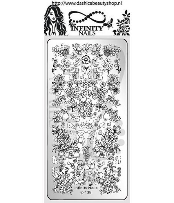 Infinity Nails 139 stamping plate girly girl flower butterfly ...