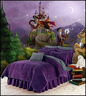 Wizards wall murasl purple bedding harry potter themed for Bedroom ideas harry potter