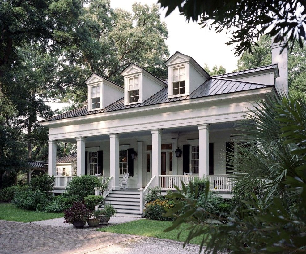Cape cod front porch ideas - White House With Metal Roof Exterior Traditional With Front Porch Box Columns