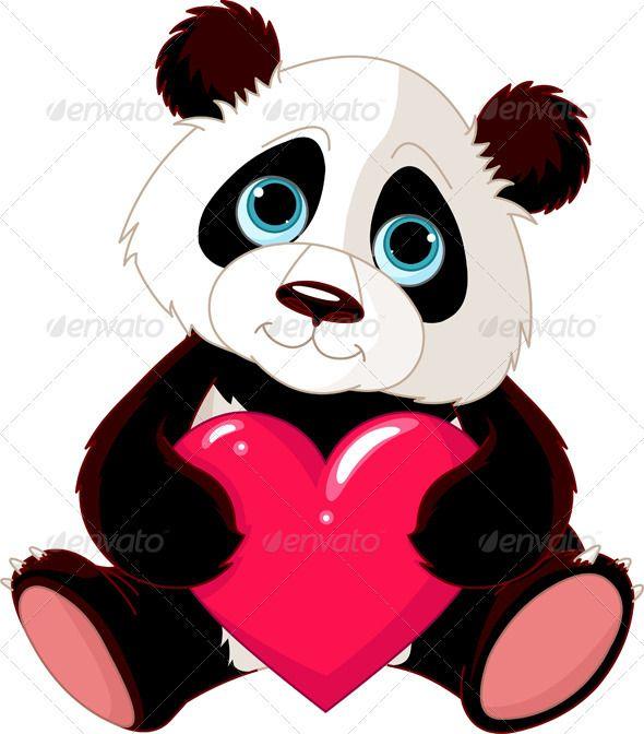 Cute Panda With Heart Risunki Pandy Risunok Pandy Izobrazheniya
